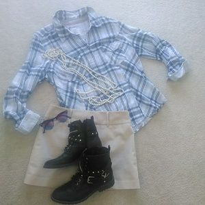STYLE & CO./BLUE PLAID SNAP WESTERN SHIRT/NEW